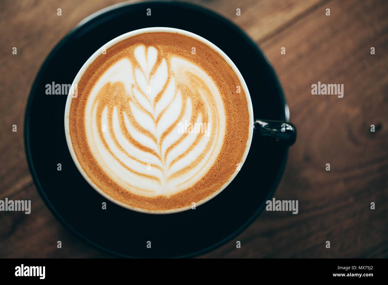 Cappuccino with beautiful foam - Stock Image