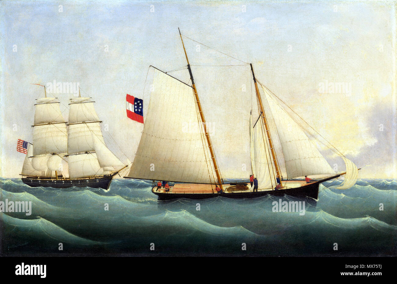 . Capture of the 'Savannah' by the 'U.S.S. Perry' .    Fritz Müller (1814–)  Description German painter and navy officer  Date of birth/death 1814 after 1861  Location of birth Blumenthal  Authority control  : Q20888900 VIAF:300471465    American, 1814 - 1861 or after . 1861 112 Capture of the Savannah by the U.S.S. Perry A14285Stock Photo