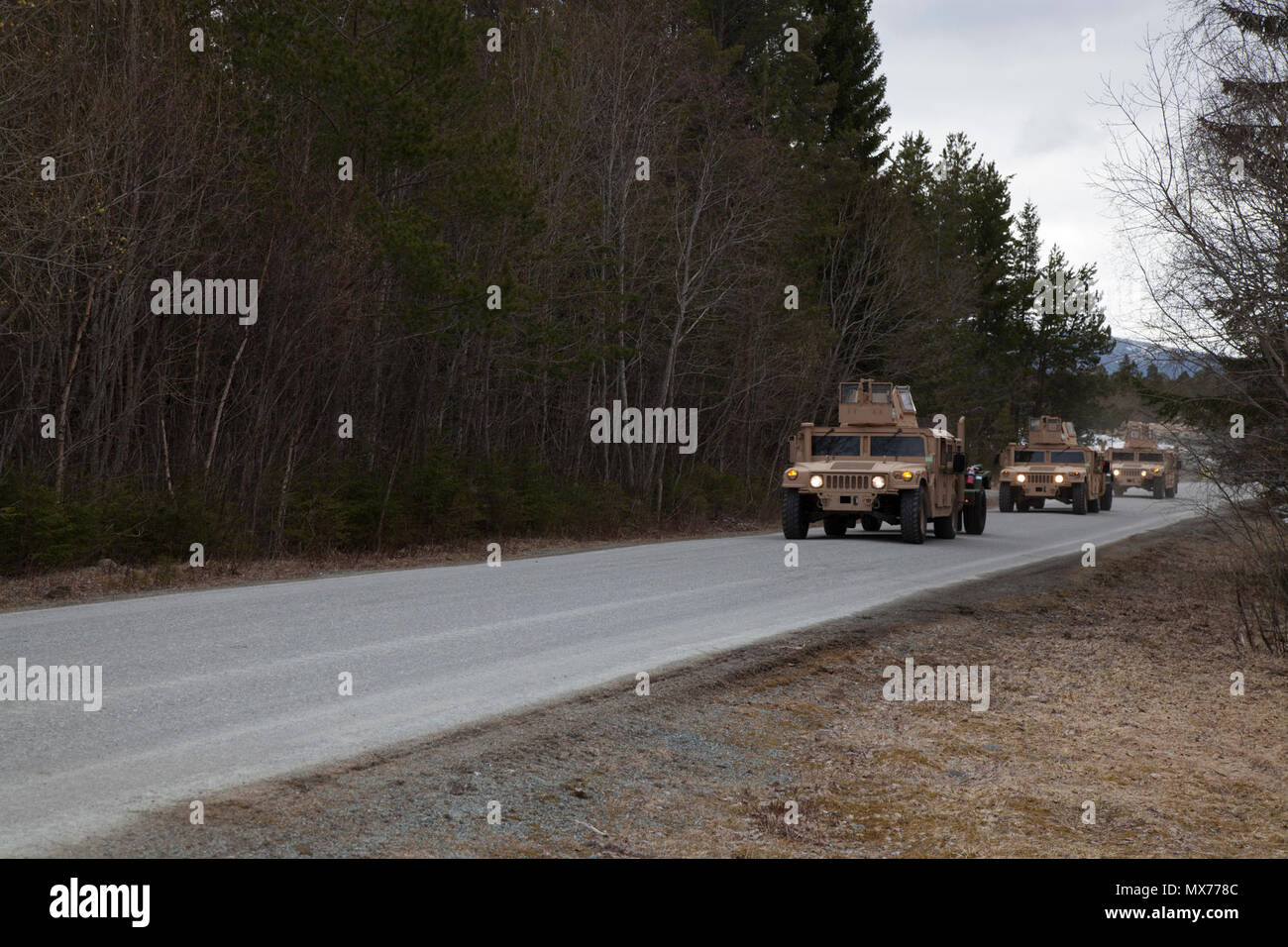 U.S. Marines with 2nd Transportation Support Battalion, Combat Logistics Regiment 2, 2nd Marine Logistics Group move a convoy of Humvees as part of Strategic Mobility Exercise 17 (STRATMOBEX) in Frigaard, Norway, May 3, 2017. STRATMOBEX was conducted to analyze the responsiveness of the force for future contingency operations involving the Marine Corps Prepositioning Program in Norway (MCPP-N).  MCPP-N creates strategic options for the defense of NATO allies and partners by providing regional support. Stock Photo