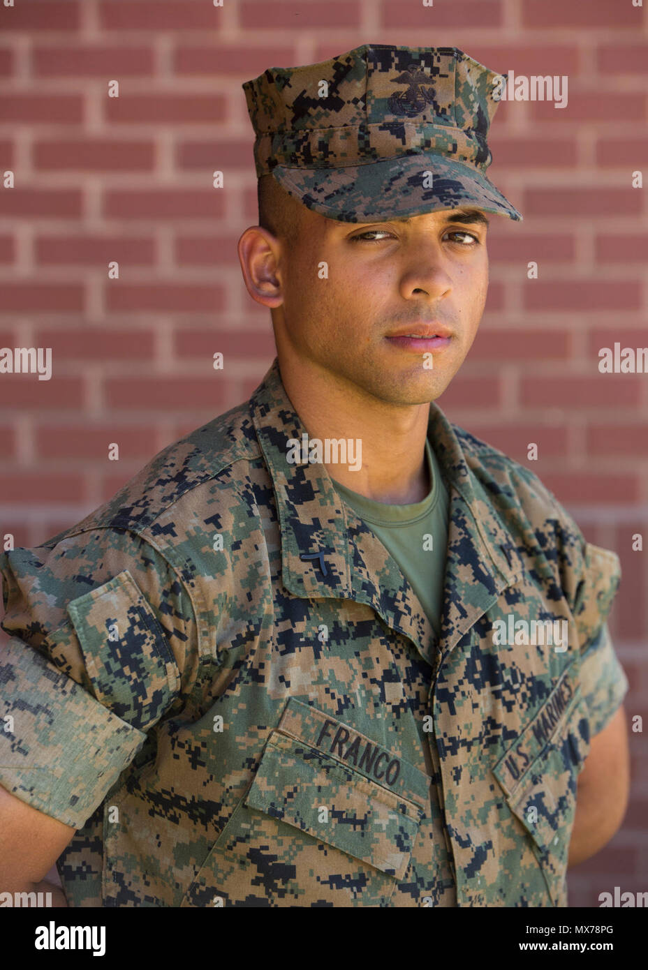 Pfc. Andres E. Franco, Platoon 2034, Fox Company, 2nd Recruit Training Battalion, earned U.S. citizenship May 4, 2017, on Parris Island, S.C. Before earning citizenship, applicants must demonstrate knowledge of the English language and American government, show good moral character and take the Oath of Allegiance to the U.S. Constitution. Franco, from Miami, originally from Honduras, is scheduled to graduate May 5, 2017. - Stock Image