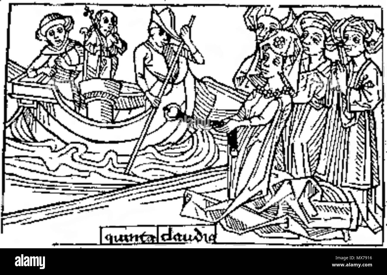 . Claudia Quinta, roman legend woodcut from late medieval period . Unknown date. Unknown 133 Claudia Quinta - 2 - Stock Image