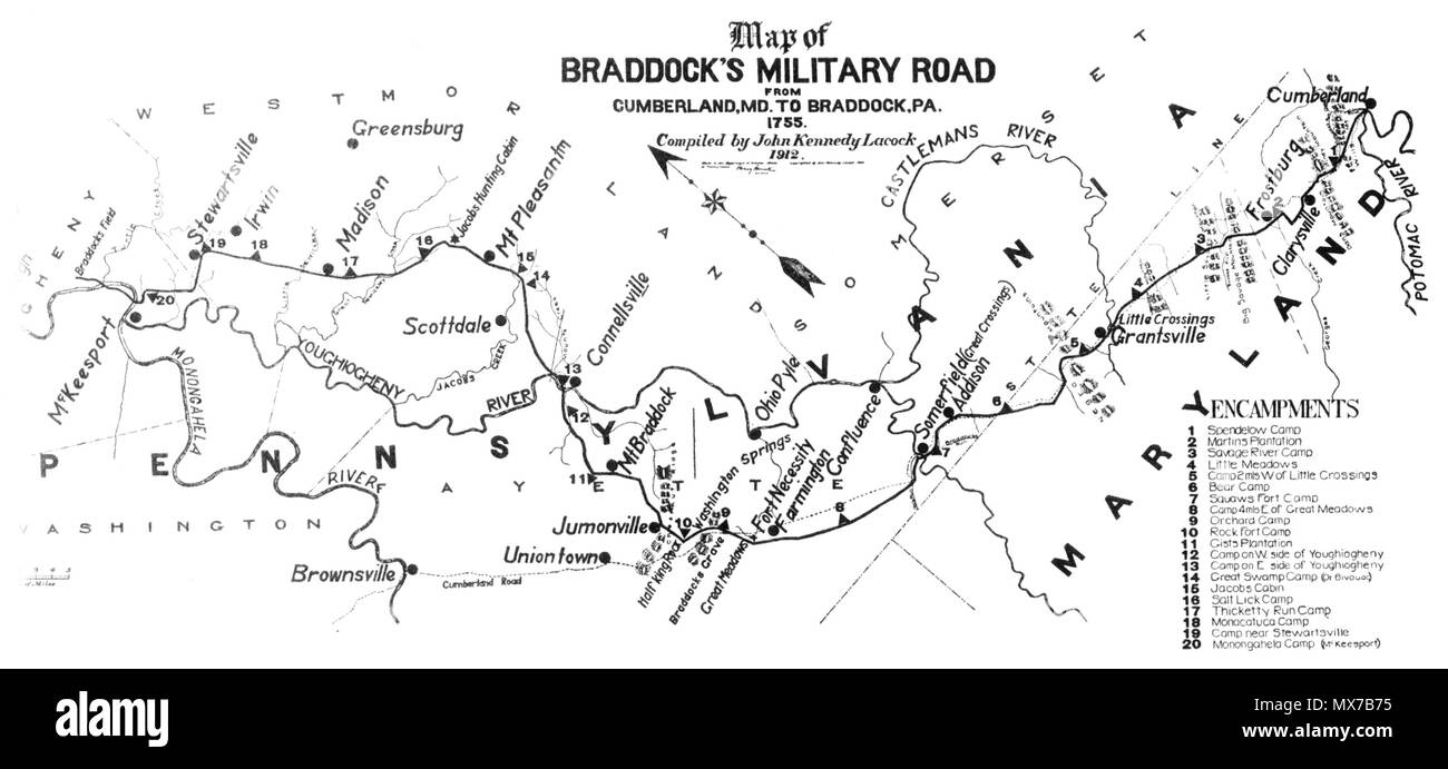 Map of Braddock's Military Road from Cumberland to present