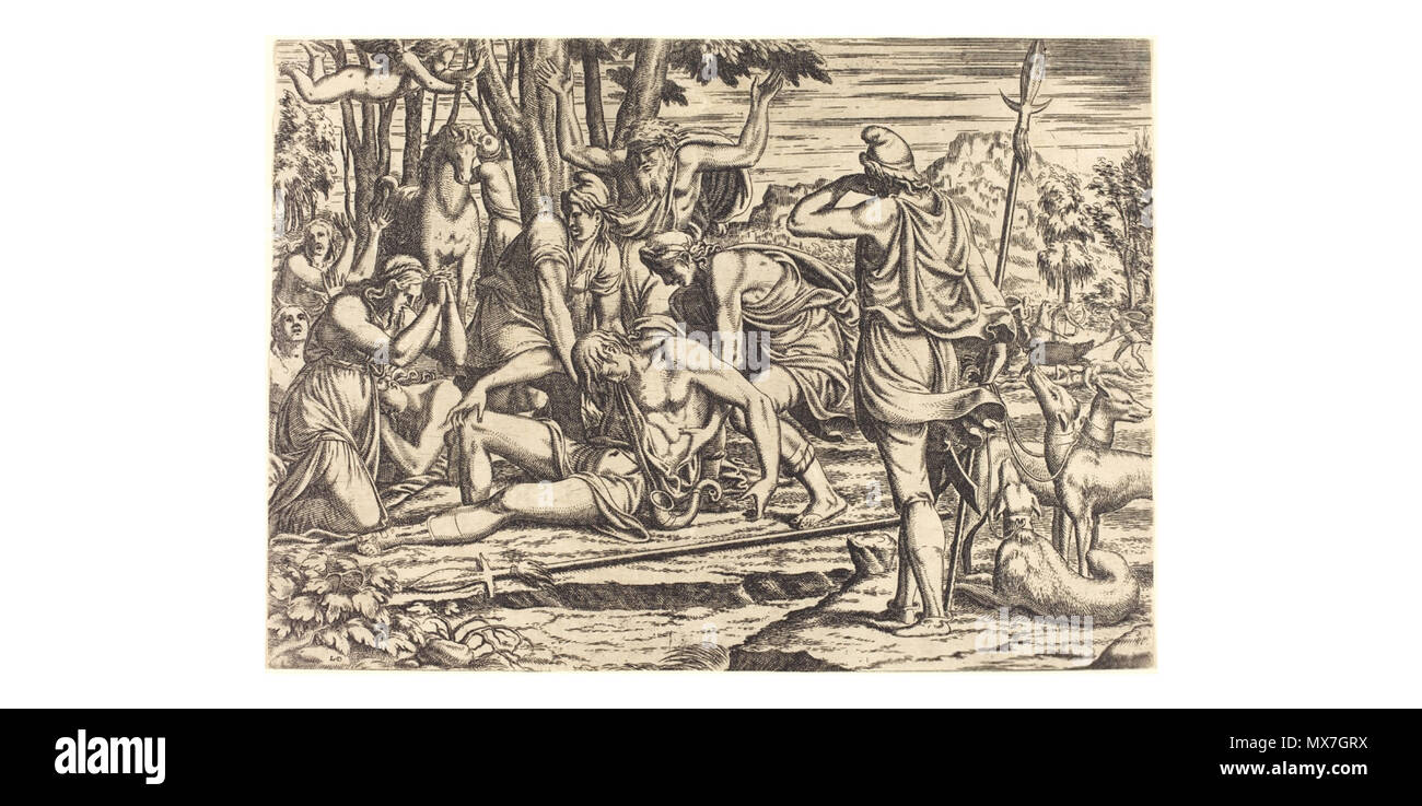 . English: National Gallery of Art, DC, Léon Davent after Luca Penni, The Death of Adonis, Etching, National Gallery of Art, Washington . 1540s. Léon Davent - French printmaker in the mid 16th century 154 Davent1 - Stock Image