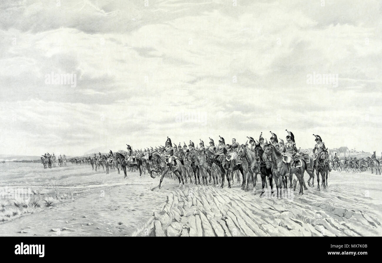 .  English: 1805 Napoleon at Austerlitz. Print showing long line of French cavalry with artillery moving behind them at Austerlitz. Includes remarque of Napoleon, half-length portrait, facing slightly right. . circa 1894 6 1805 Napoleon at Austerlitz - Stock Image