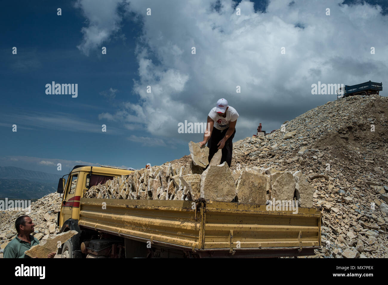 Slate quarries worker, Tomorri Mountain National Park, Berat, Albania, Europe - Stock Image