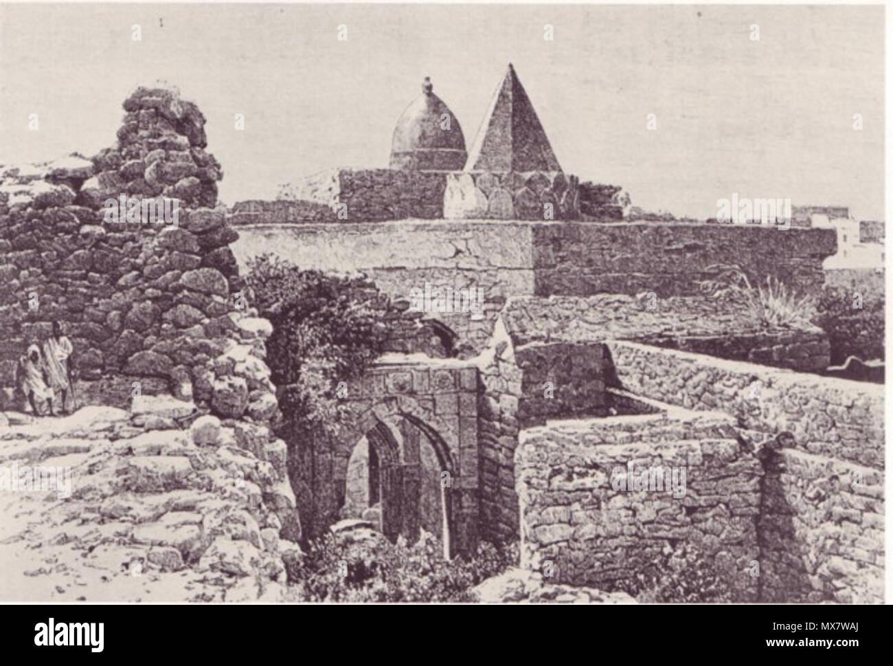 . 'The Fakhr Ad-Din Mosque' in Mogadishu in 1882. From E.Cerulli, Somalia, Scritti Vari Editi ed Inediti, Vol. 1., Fig. XV. Istituto Poligrafico dello Stato, P.V., Rome, 1957. Figure is referenced as Dal Voyage chez les Benadirs di G. Revoil. Figure courtesy Library of Congress' (from page 138 of 'Somalia in Word and Image', 1986, Ed by K.S. Loughran., J.L. Loughran., J.W. Johnson., S.S. Samatar. Published by the Foundation for Cross Cultural Understanding, Washington, D.C., and Indiana University Press). . This file is lacking author information. 202 Fakr Ud Din Mosque - Stock Image