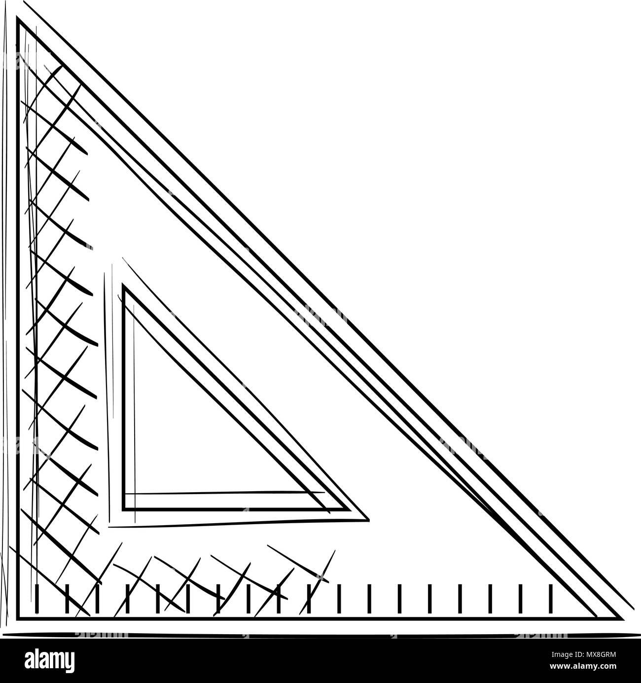 triangular geometric rule school - Stock Image