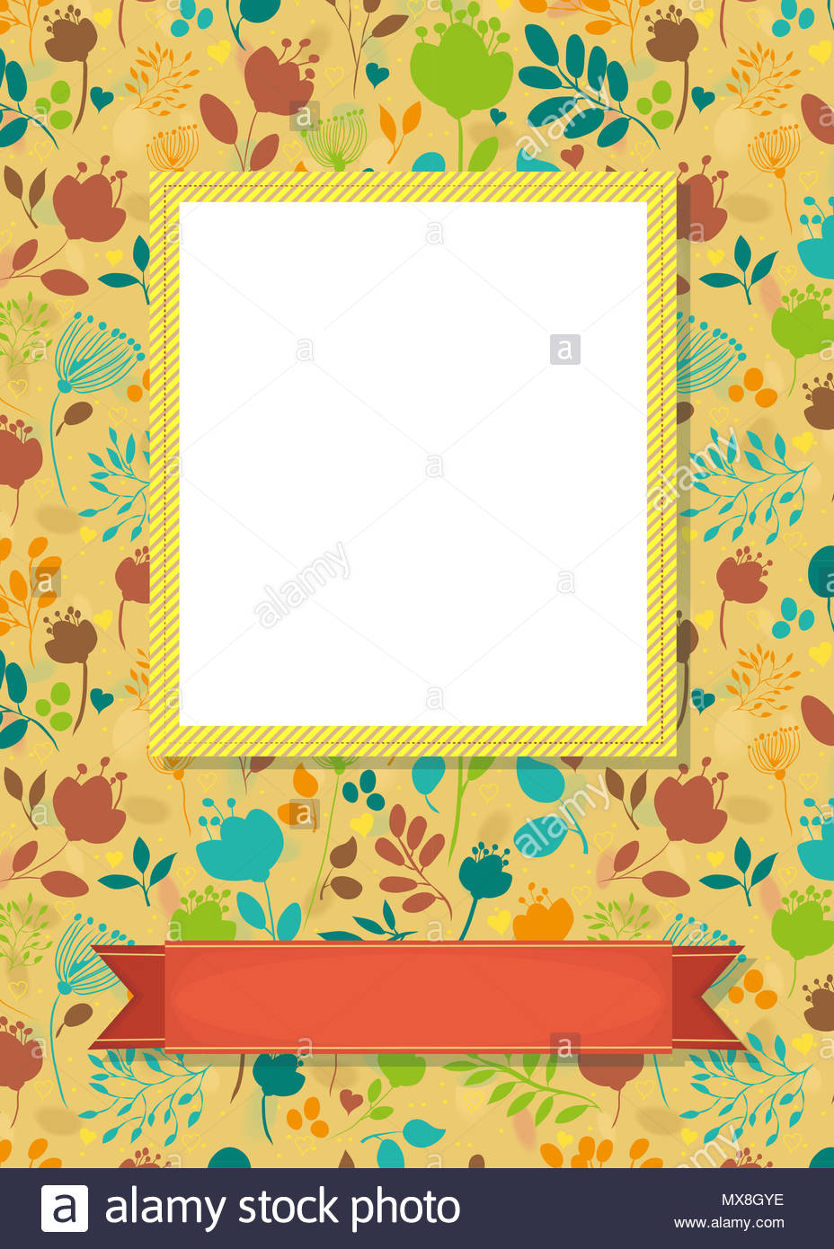 Floral Greeting Card Graceful Colorful Silhouettes Of Flowers And