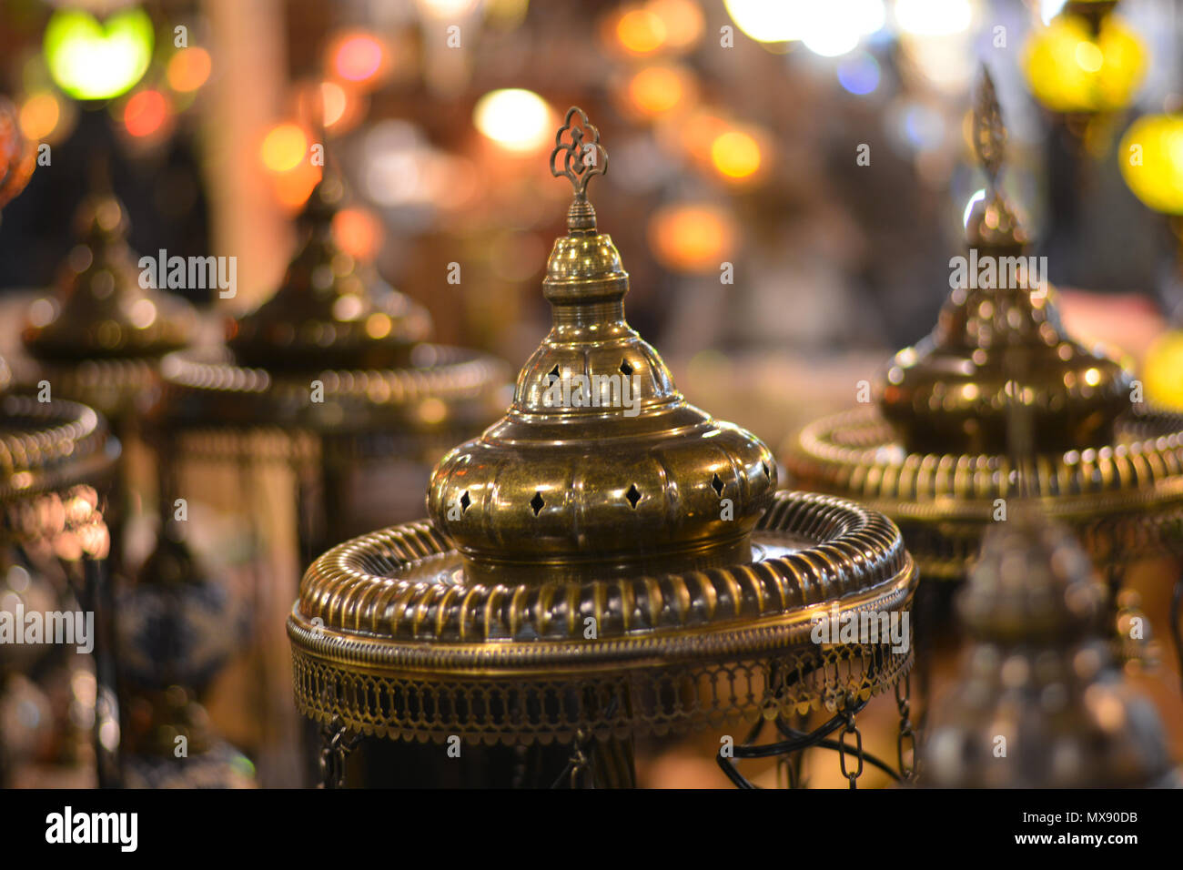 lights in the oriental markets - Stock Image