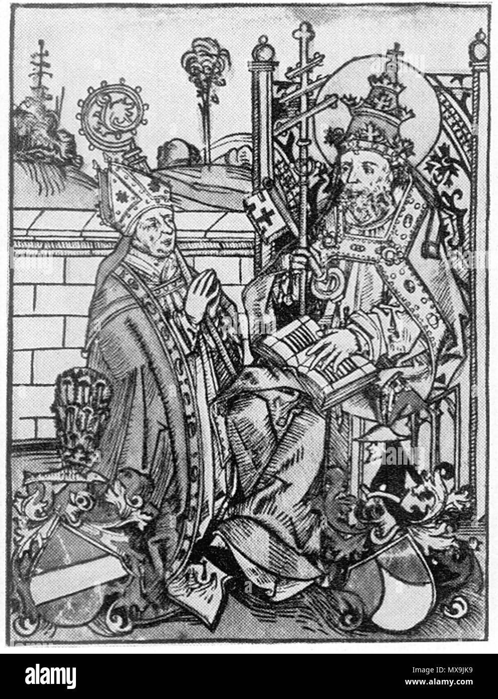 . Deutsch: Darstellung des Regensburger Bischofs Heinrich IV. von Absberg (kniend, mit dem Hl. Petrus) . c. 1480s. Michael Wolgemut (d. 1519) 271 HeinrichAbsberg - Stock Image