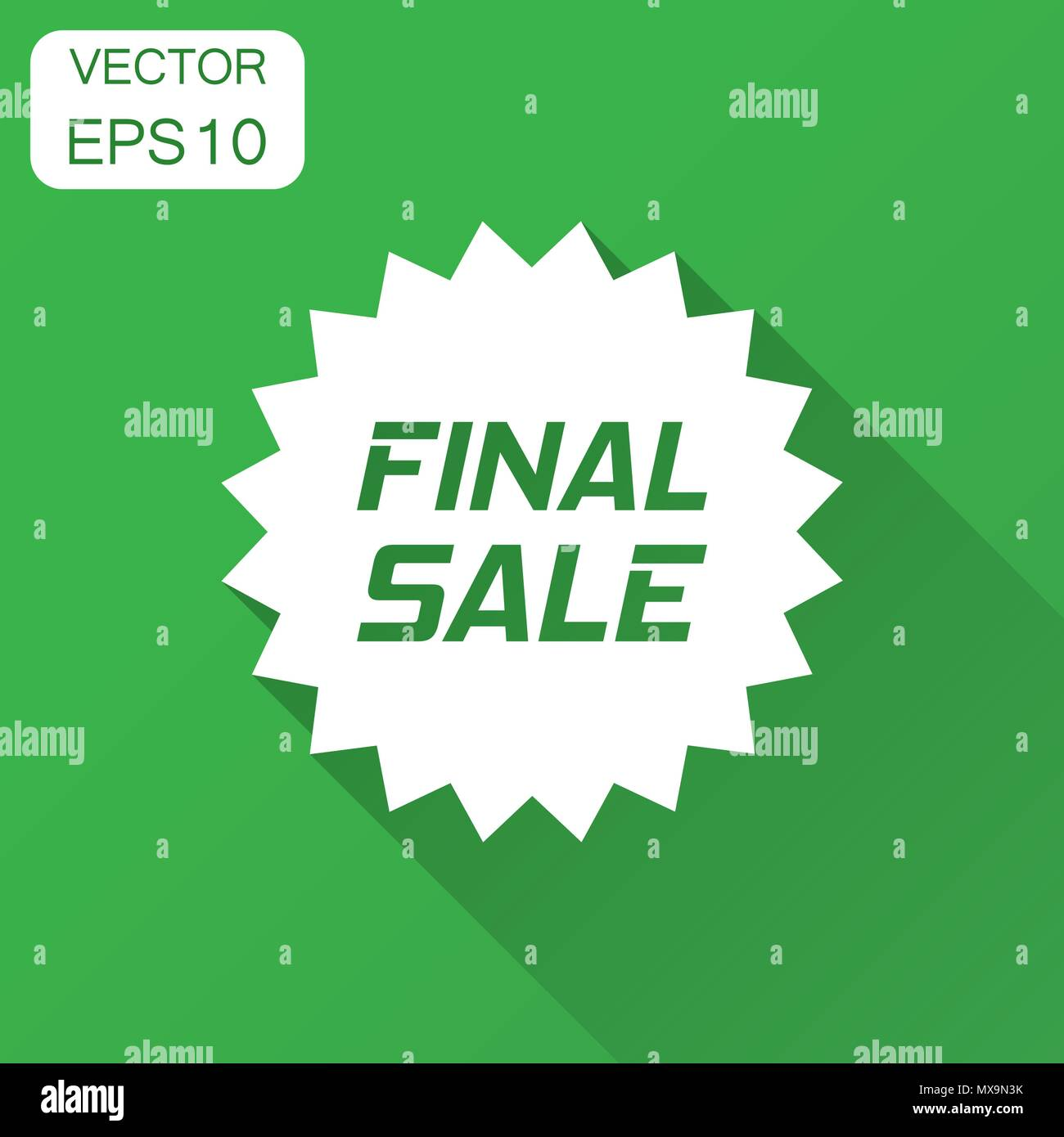 Discount sticker vector icon in flat style. Sale tag sign illustration with long shadow. Promotion final sale discount concept. - Stock Vector