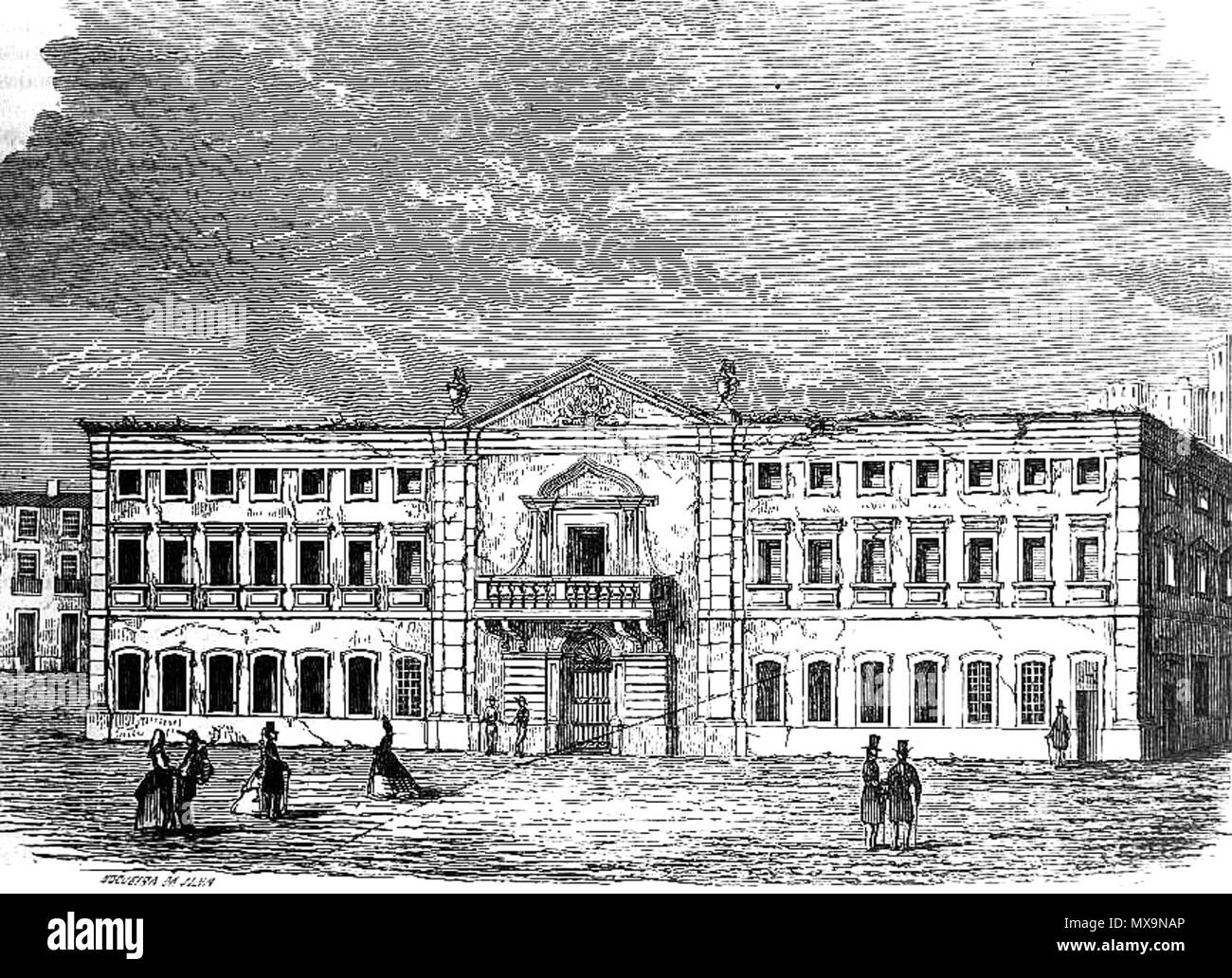 Drawing of the Inquisition Palace (Estaús Palace) in the Rossio