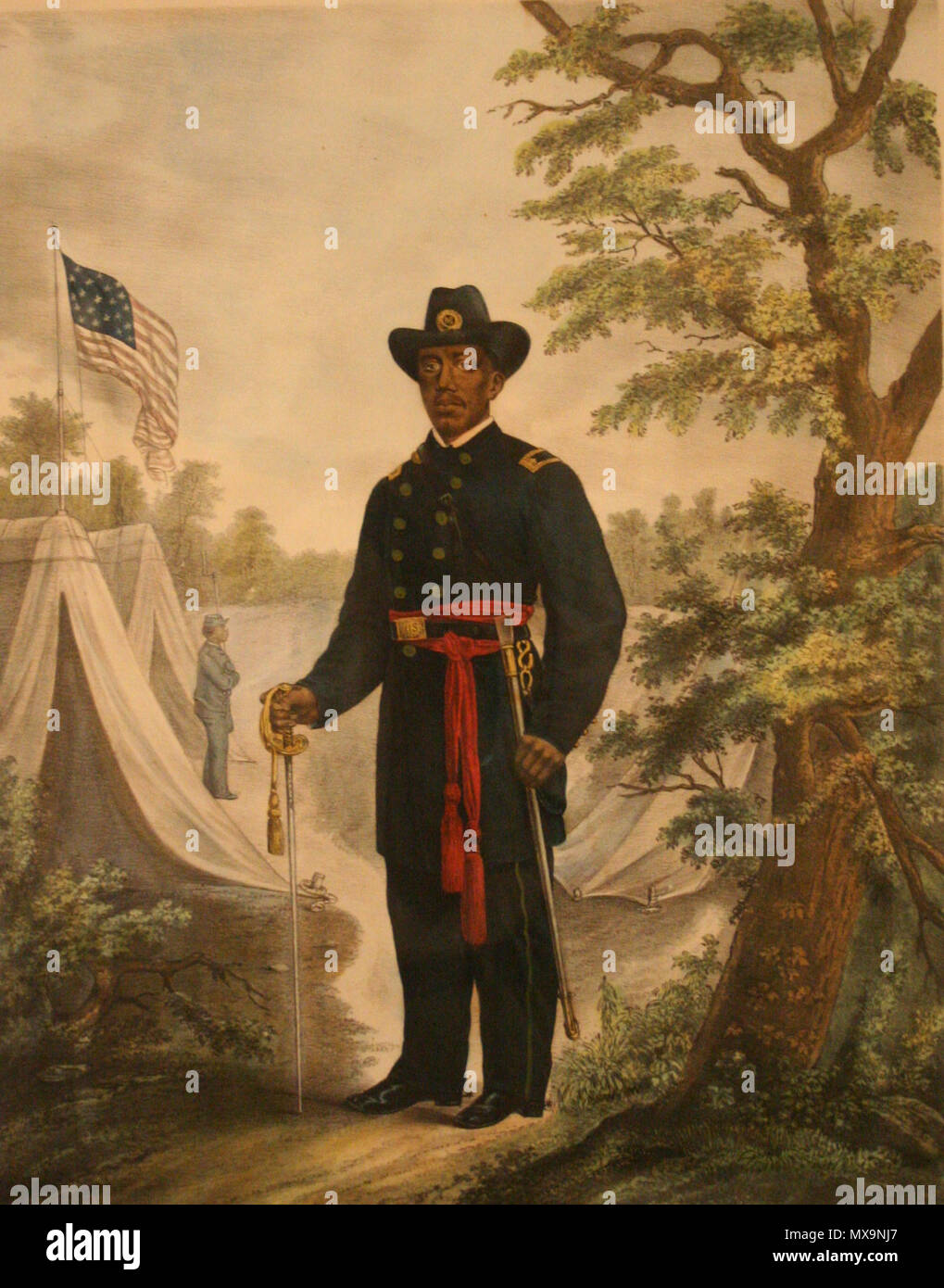 . Martin R. Delaney, the only black officer who received the rank of major during the Civil War. This distinction recognized Delany's stature as a black leader, although it proved to be mostly symbolic. In the decade before the war, Delany had been active in the movement to relocate free blacks to Liberia, where they might have greater freedoms. In 1863 following President Lincoln's Emancipation Proclamation and the call for the enlistment of black militia regiments, Delany began actively recruiting in New England. The chance to organize his own unit came in February 1865, when Lincoln commiss - Stock Image