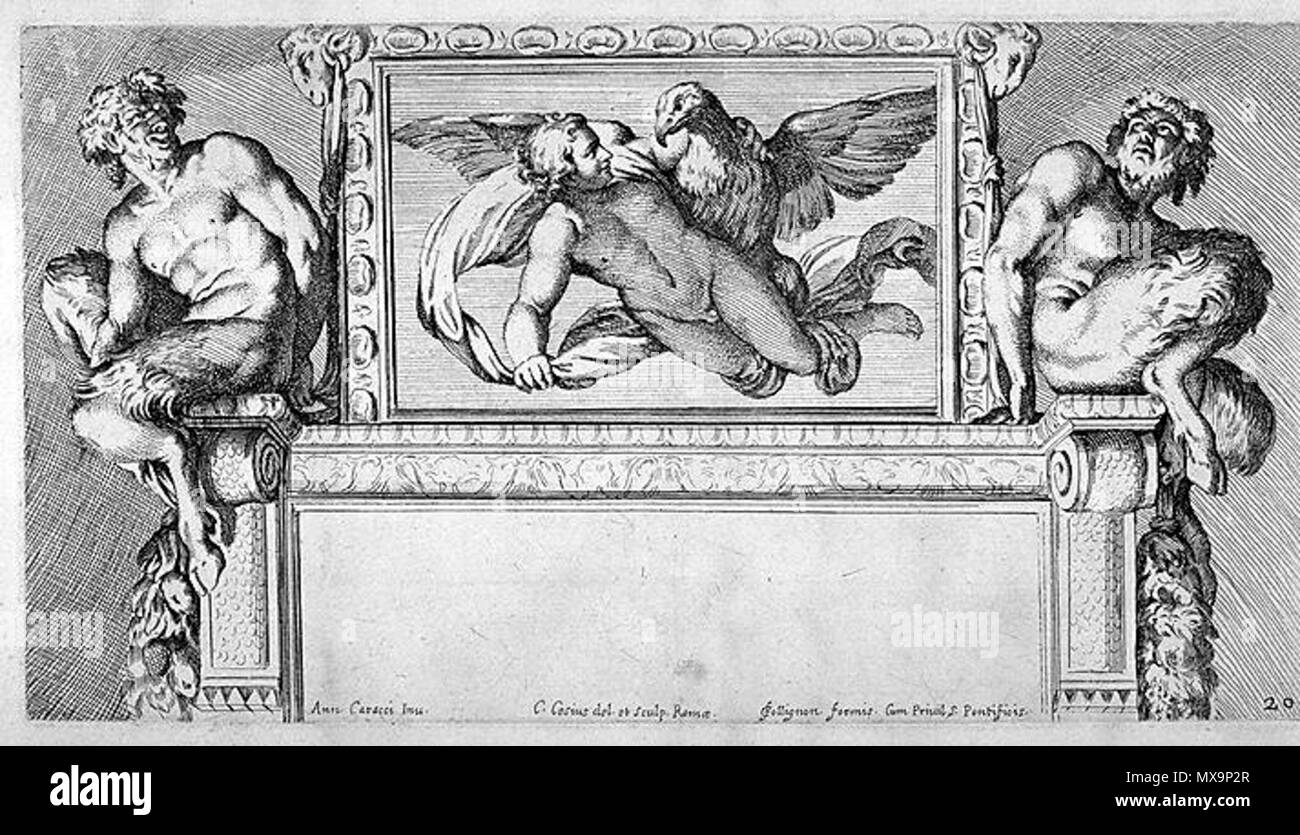 .  Italiano: Carlo Cesio (1626-1686), Ganimede e Giove (incisione dell'affresco di Annibale Carracci in Palazzo Farnese a Roma). Edito nella Illustrazione de la Galleria Farnese (1675). English: Carlo Cesium (1626-1686), Ganymede and Jupiter (fresco engraving of Annibale Carracci in Palazzo Farnese in Rome) . Published in the Illustration of the Farnese Gallery (1675) 235 Ganimede - Cesio, Carlo (1626-1686), Ganimede e Giove da A. Carracci, Ill. de la Galleria Farnese, 1675 - Stock Image