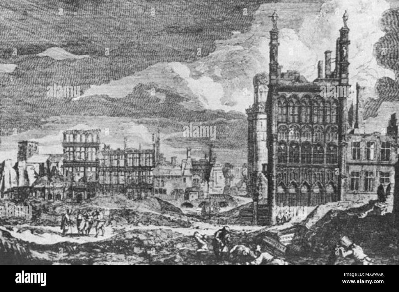 Maison En Ruine Dessin français : gravure d'après un dessin de augustin coppens