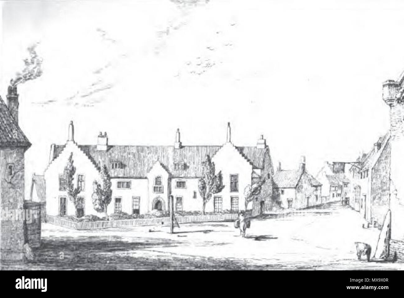 . English: Illustration of Gresham's School, Holt, from John William Burgon's The Life and Times of Sir Thomas Gresham (1839) 'from a sketch made on the spot in 1838'. 1839 engraving from a sketch dated 1838. Unknown 255 Gresham's School, 1838 - Stock Image