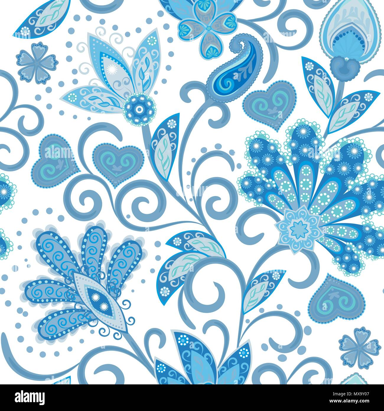 vintage pattern in indian batik style floral hand draw vector background blue on white stock vector image art alamy https www alamy com vintage pattern in indian batik style floral hand draw vector background blue on white image188303479 html