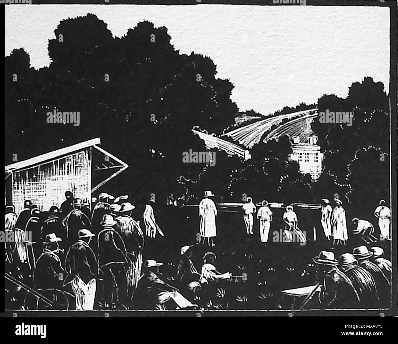 1930 wood-cut (wood block or lino-cut) hand engraved picture of a 1930 village cricket team playing a local match Stock Photo