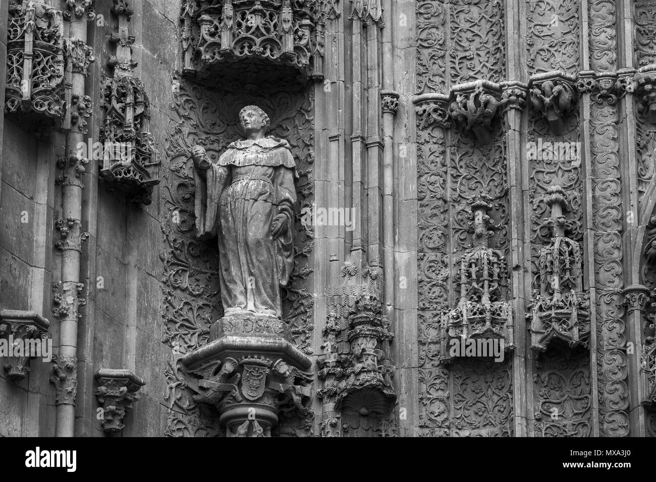 Architectural details on the exterior of the Cathedral in Salamanca. Spain. - Stock Image
