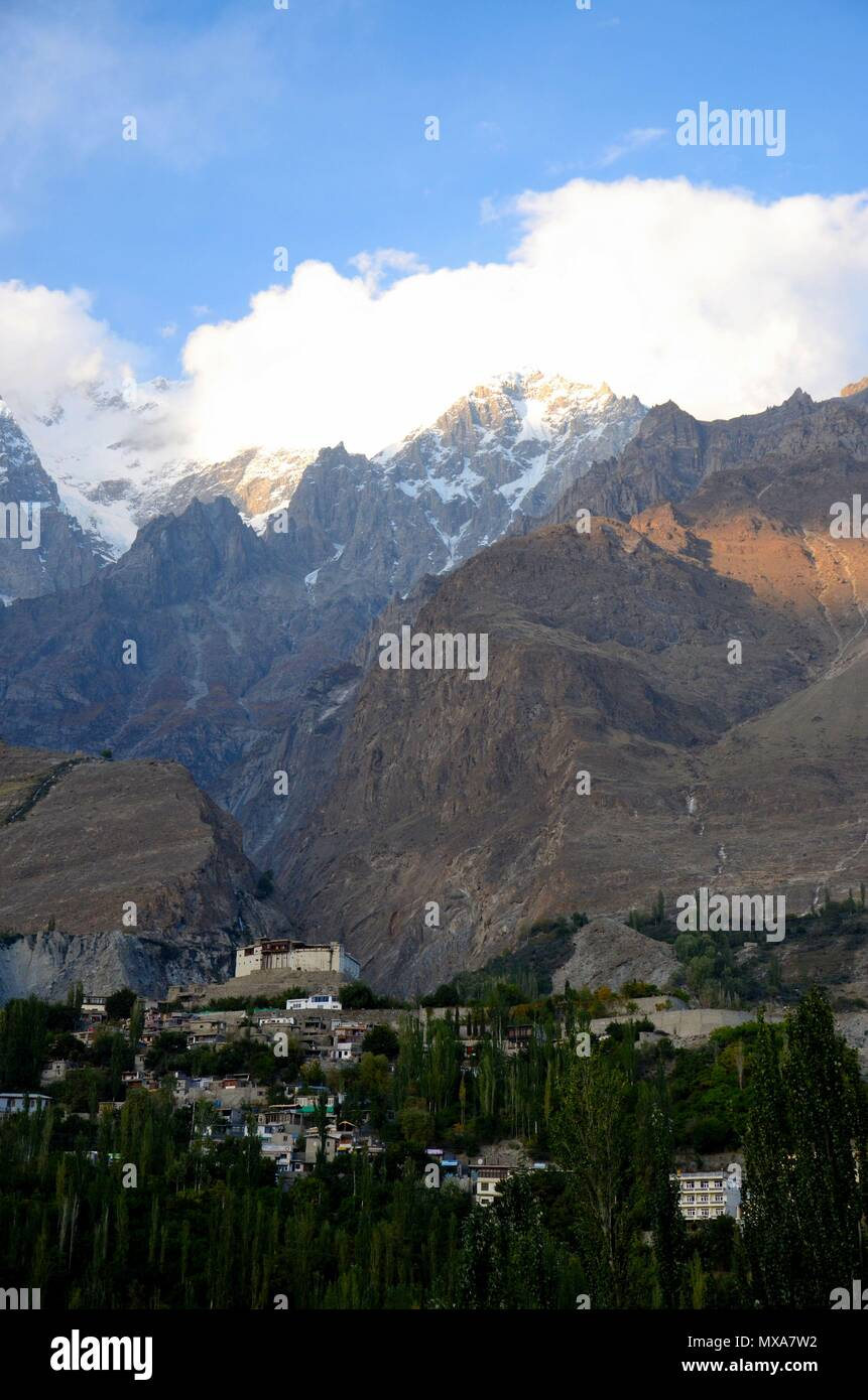 Restored Baltit Fort stands grandly among mountains in Karimabad Hunza Gulgit-Baltistan northern Pakistan - Stock Image