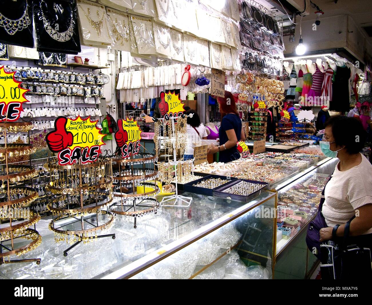 943bc8ce7 DIVISORIA, MANILA CITY, PHILIPPINES - MAY 14, 2018: Assorted jewelry and  fashion accessories on display at a bazaar stall inside a big shopping mall.