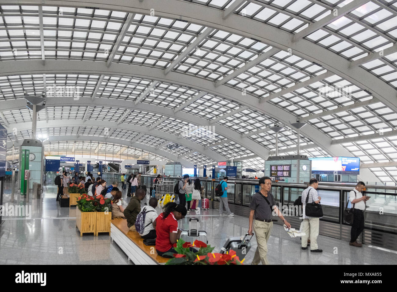 huge beijing capital international airport pek terminal 3 express train station subway serving. Black Bedroom Furniture Sets. Home Design Ideas
