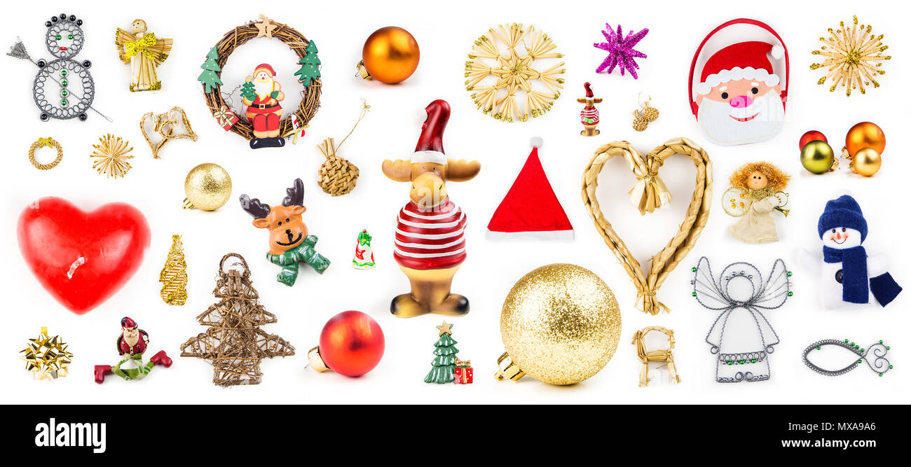 many different christmas decorations on white background with variation in color material and shapes - Different Christmas Decorations