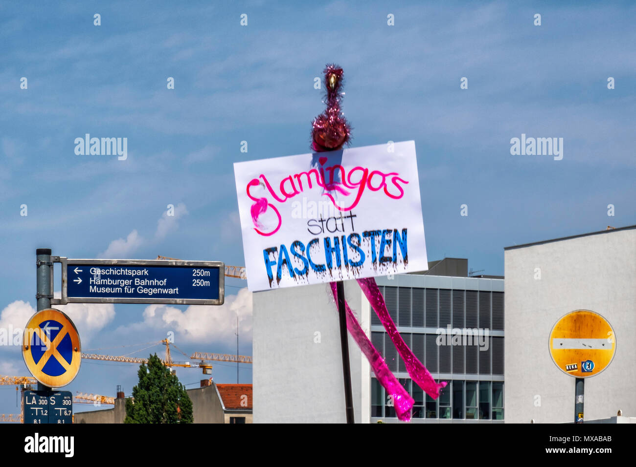 Germany,Berlin-Mitte, 27th May 2017. Flamingos intead of fascists. Anti Right wing poster at Berlin anti Afd rally & Stop the Hatred Demonstration.    - Stock Image