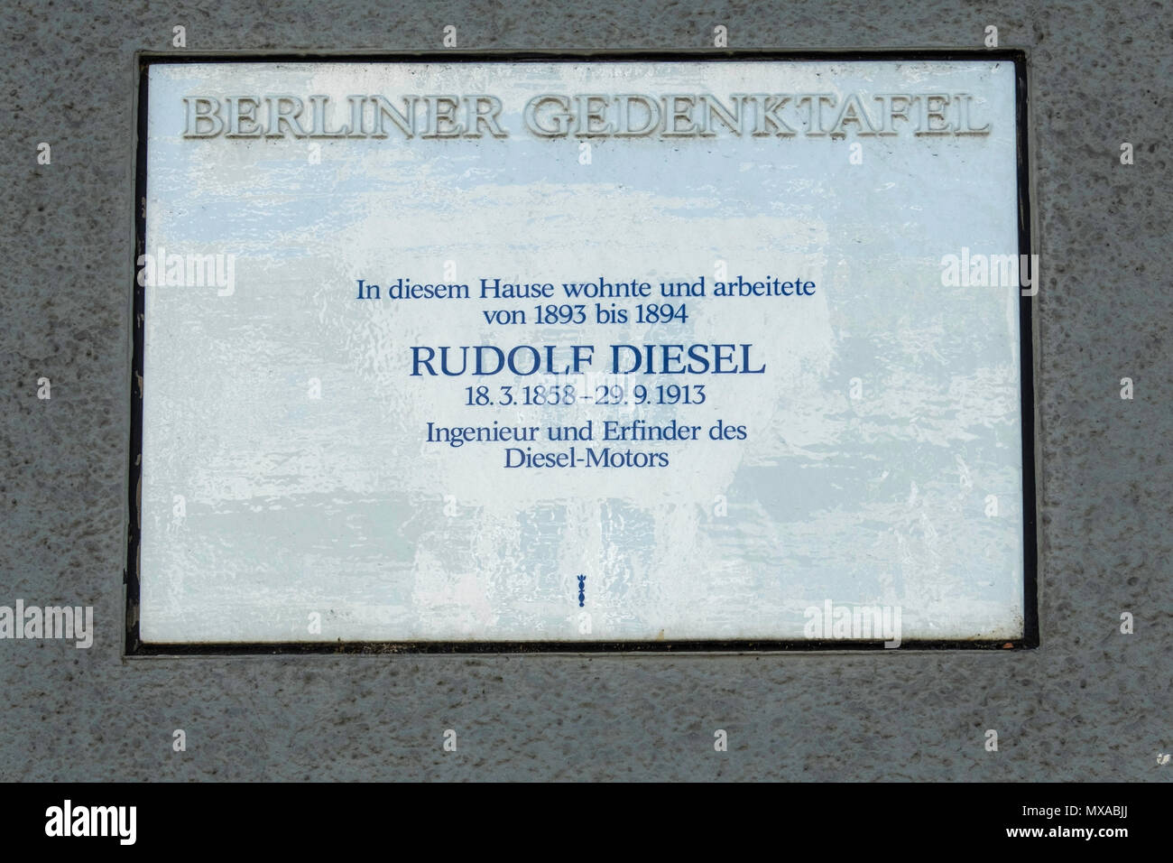 Berlin, Kantstrasse 153. memorial plaque at Entrance to building that was home of Rudolf Diesel, engineer & founder of Diesel Motors - Stock Image