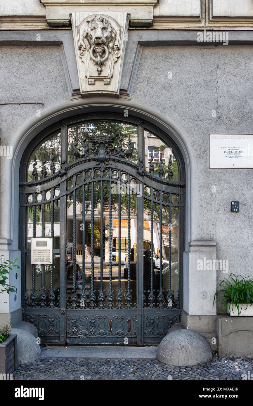 Berlin, Kantstrasse 153. Entrance to building that was home of Rudolf Diesel, engineer & founder of Diesel Motors - Stock Image