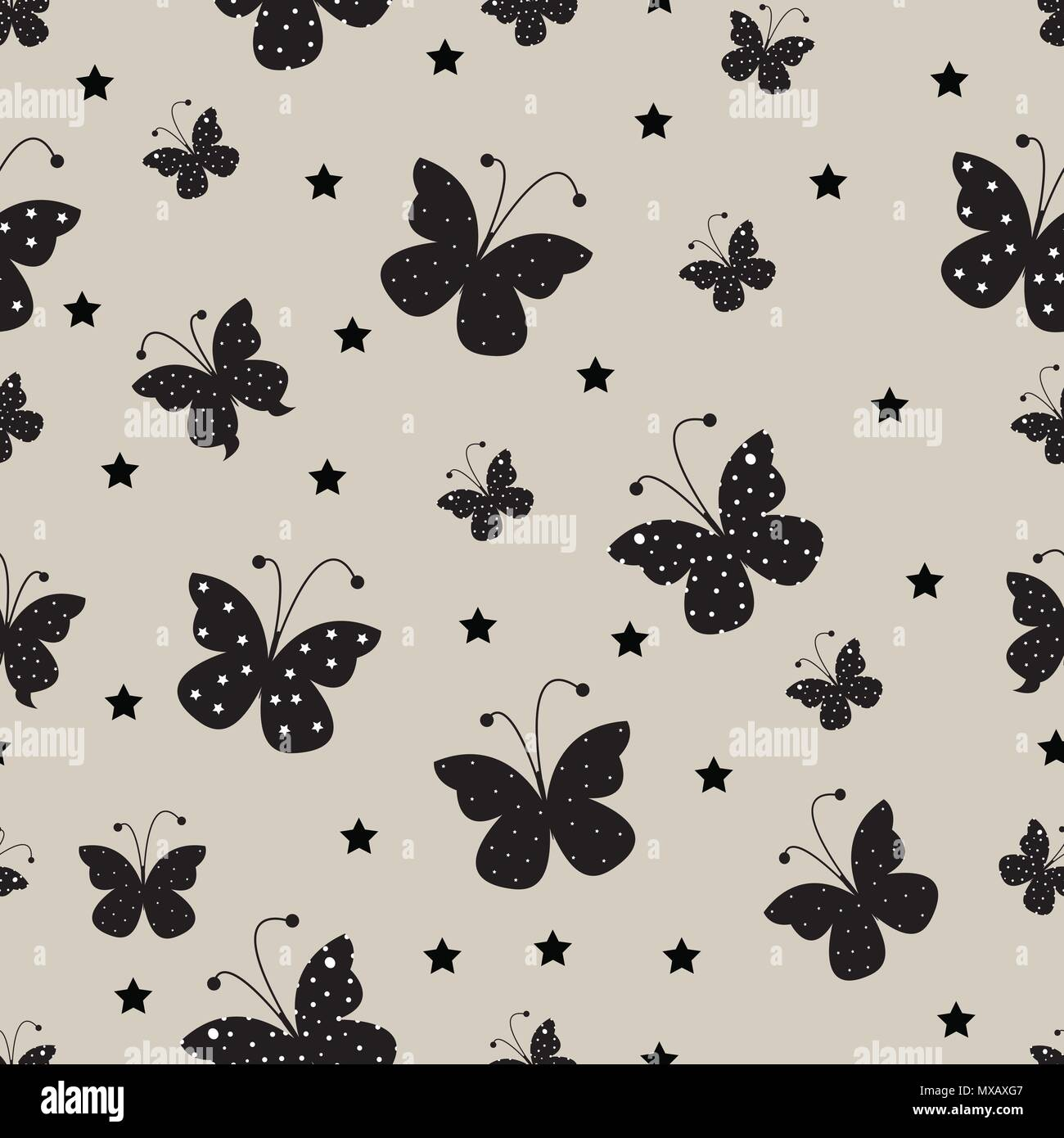 Abstract Butterfly Seamless Pattern Background Childish Handmade