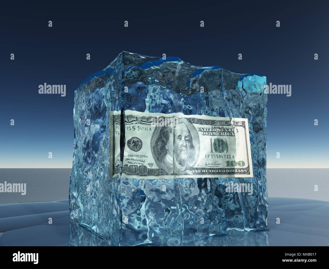 One hundred dollar bill frozen in ice cube - Stock Image