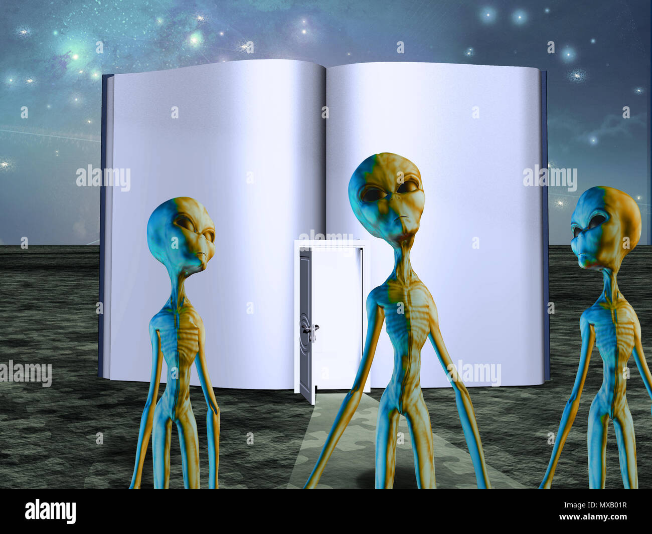 Aliens before opened book with door - Stock Image