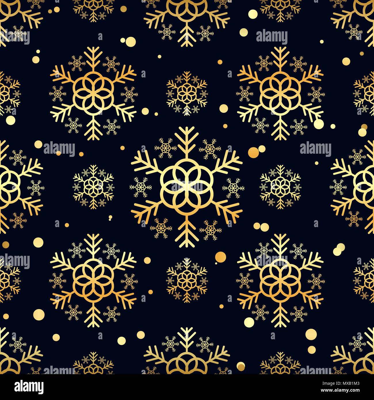 gold snowflakes and circles on black background winter background
