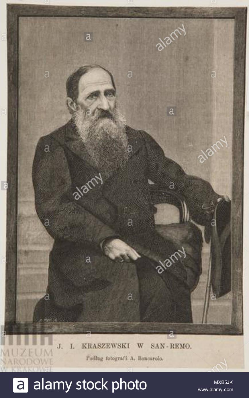 . Polski: J. I. Kraszewski w San Remo . circa 1890. Bronisław Puc 304 J. I. Kraszewski w San Remo Stock Photo