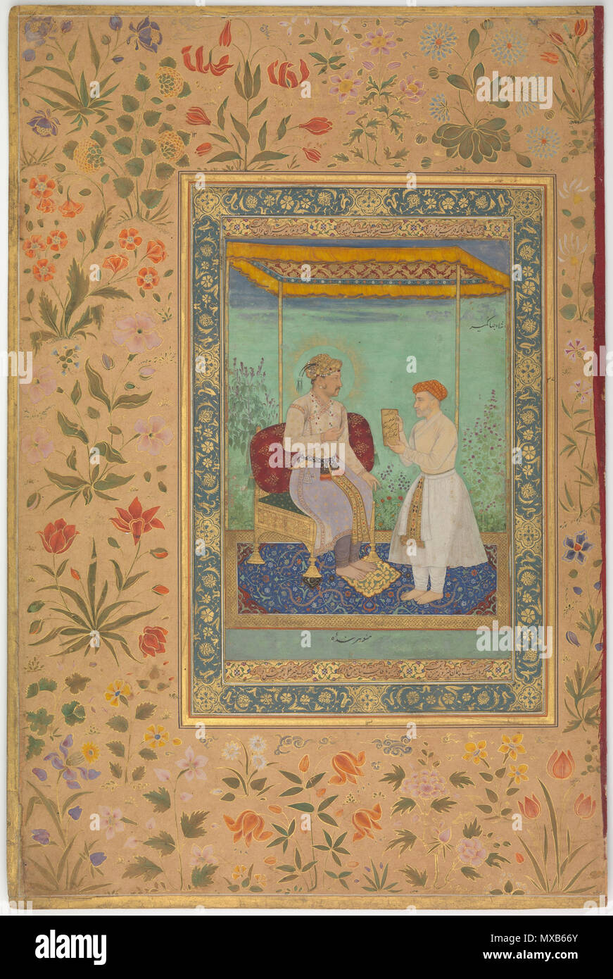. 'Jahangir and His Vizier, I'timad al-Daula', Folio from the Shah Jahan Album Manohar (active ca. 1582–1624) Calligrapher:  Mir 'Ali Haravi (d. ca. 1550) Object Name:  Album leaf Reign:  Jahangir (1605–27), recto Date:  recto: ca. 1615; verso: ca. 1530–45 Geography:  India Medium:  Ink, opaque watercolor, and gold on paper Dimensions:  15 3/8 x 10 3/16in. (39 x 25.9cm) Mat: 19 1/4 x 14 1/4 in. (48.9 x 36.2 cm) Frame: 20 1/4 x 15 1/4 in. (51.4 x 38.7 cm) Classification:  Codices Credit Line:  Purchase, Rogers Fund and The Kevorkian Foundation Gift, 1955 Accession Number:  55.121.10.23 This art Stock Photo