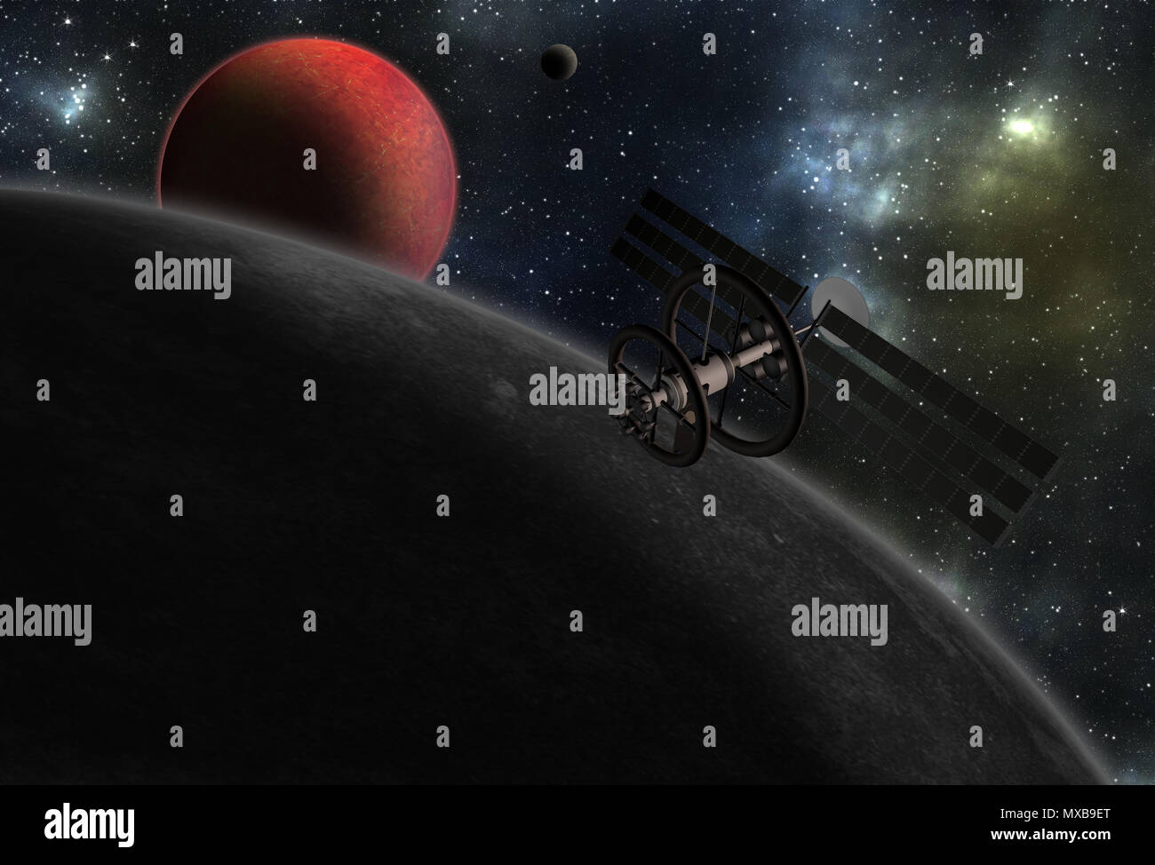 Spacecraft to vibrant outer space with stars, nebula and planets. - Stock Image