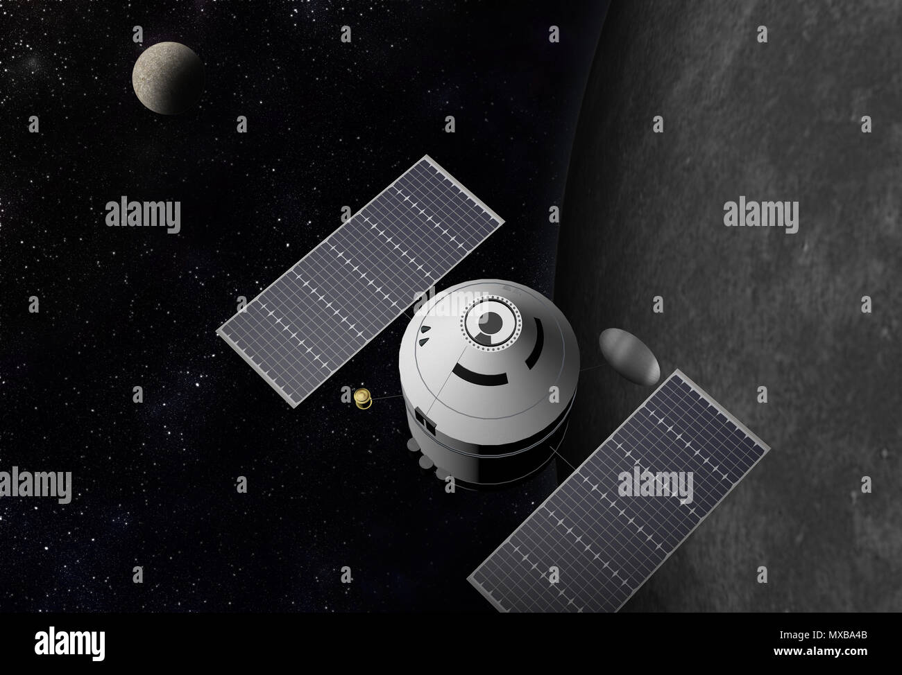 Spacecraft flying to vibrant outer space with stars, nebula and planets. - Stock Image