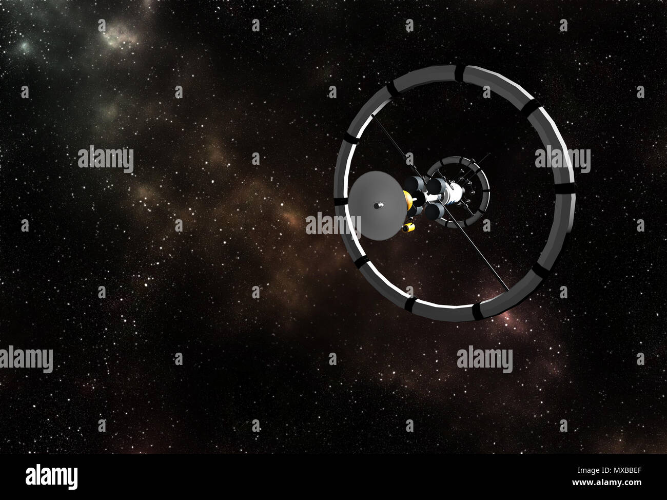 Interstellar spaceship flying to vibrant outer space with stars, nebula and planets. - Stock Image
