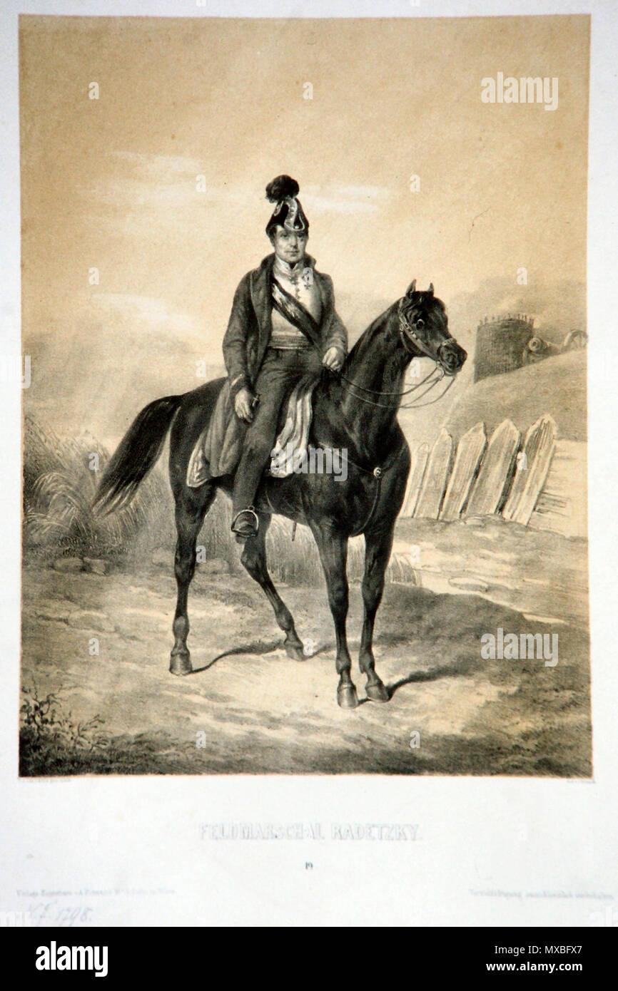 . Deutsch: Josef WEnzel Graf Radetzky von Radetz (1766-1868), k. k. Feldmarschall. Lithographie von Josef Lanzedelli d. J. um 1848 . circa 1848. Josef Lanzedelli c. J. (1807-1870); Foto member Peter Geymayer 510 Radetzky Lanzedelli Litho - Stock Image