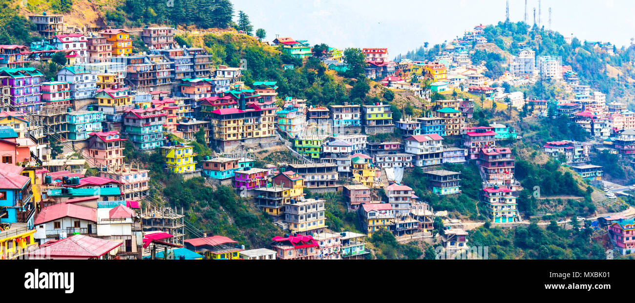 Not Brazil Nor Argentina Its my India. The beautiful panoramic landscape of Shimla situated in Himachal Pradesh. - Stock Image