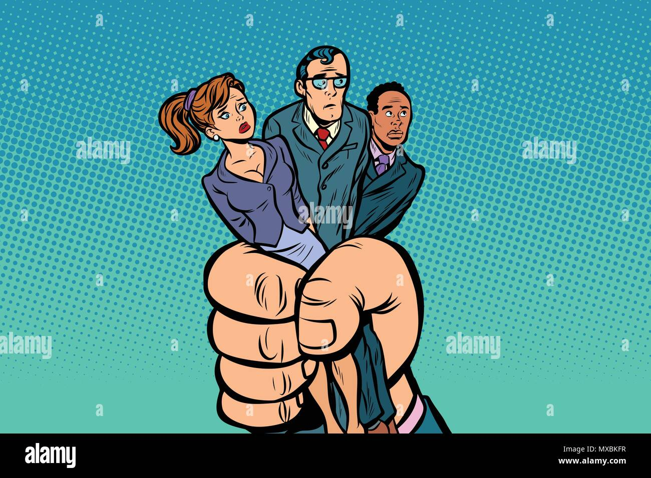 People prisoners in the giant fist. Comic book cartoon pop art retro illustration Stock Vector