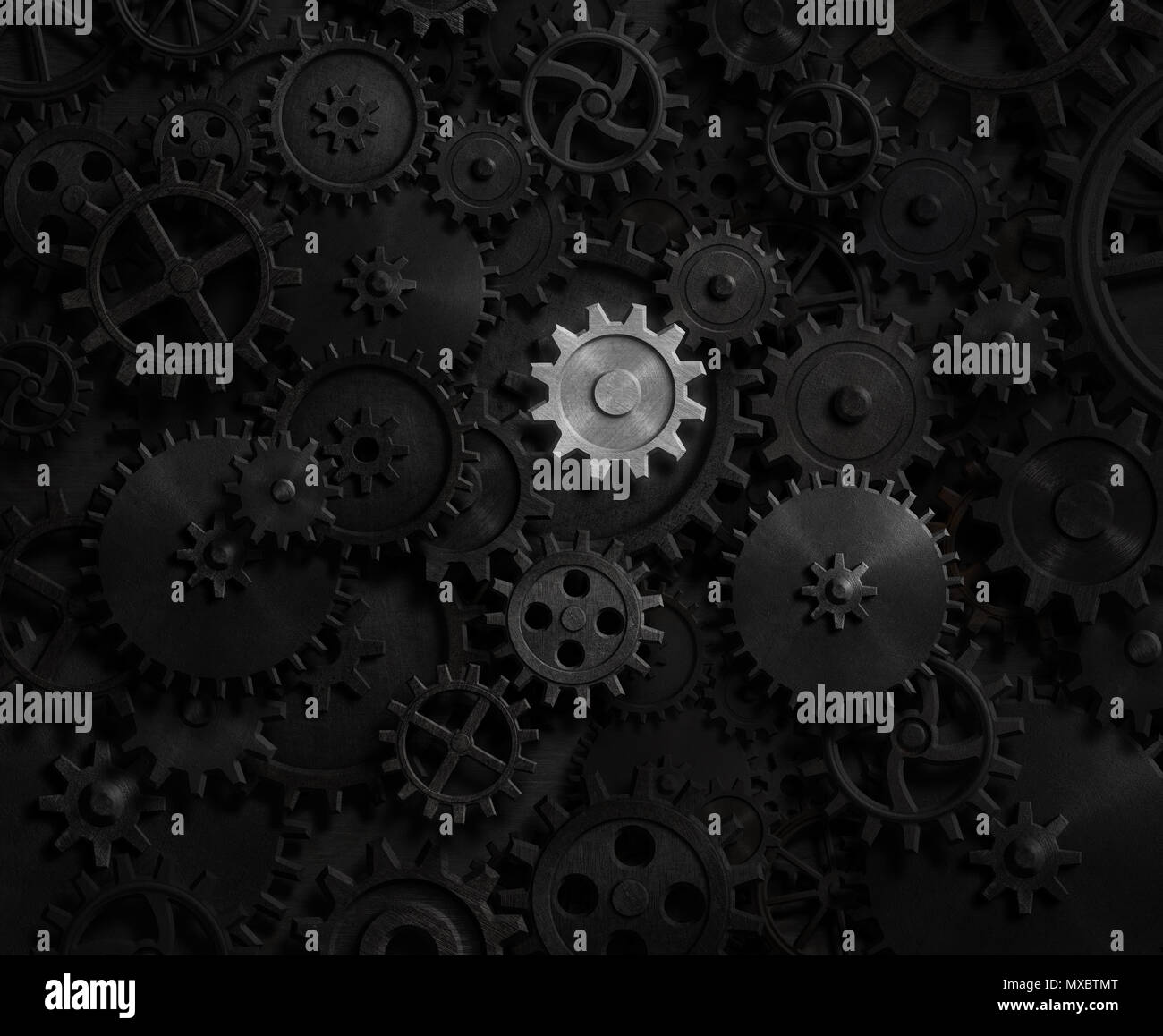 Old gears and cogs with bright one 3d illustration - Stock Image