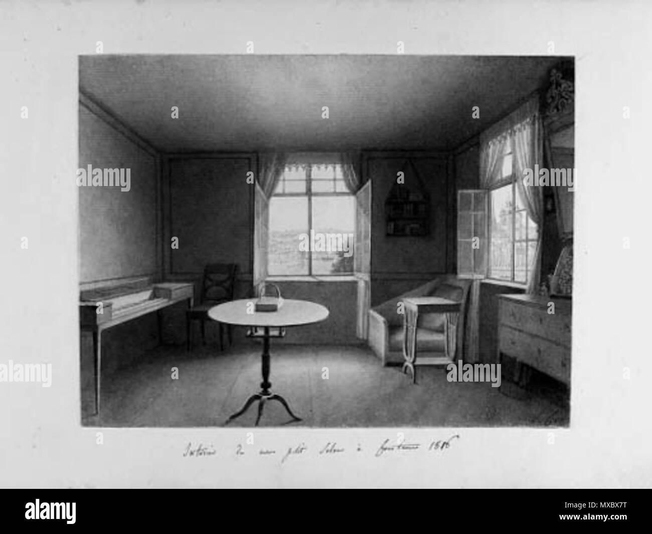 inscribed interieur du mon petit salon constance 1816 pencil brown wash 191 x 255 cm
