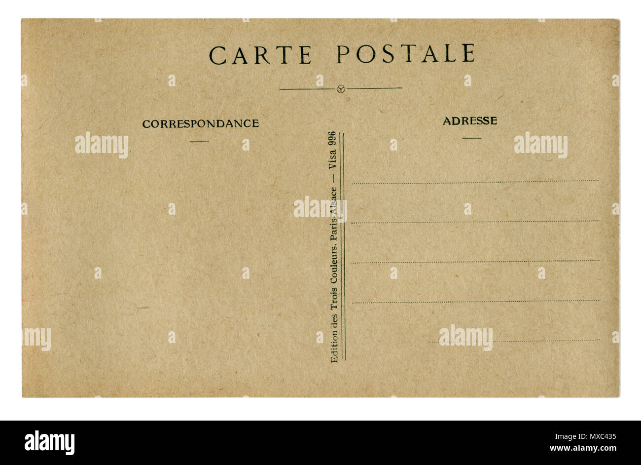 Back of historical French postcard (MXC433) blank card with