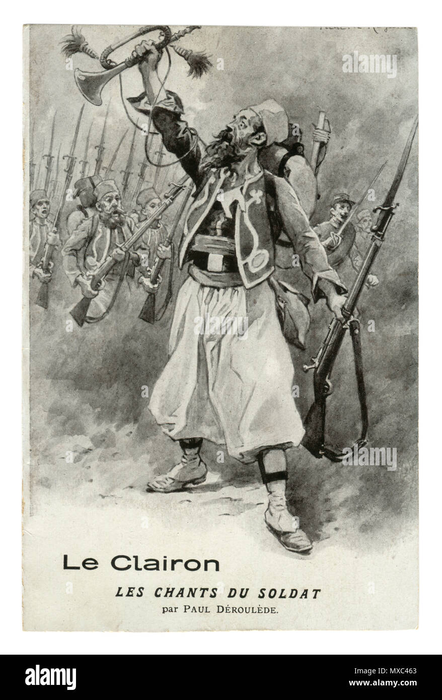 French historical postcard: The old bugler leads the soldiers to the attack with a rifle with a bayonet. The army on the offensive. world war one 1914 - Stock Image
