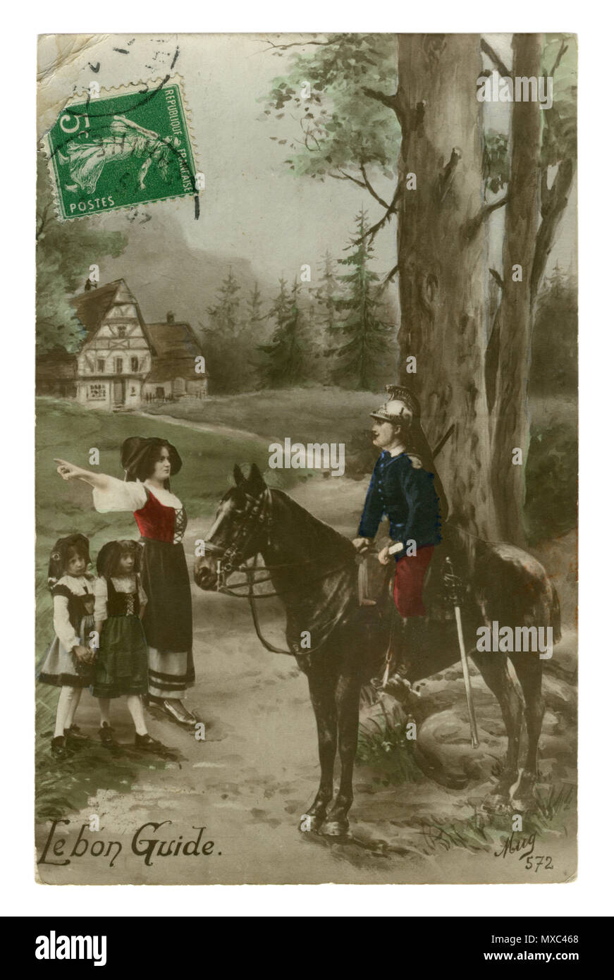 French historical photo postcard: Cavalryman on a horse asks the way for a woman with her daughters in a forest village. Alsace and Lorraine. wwi - Stock Image