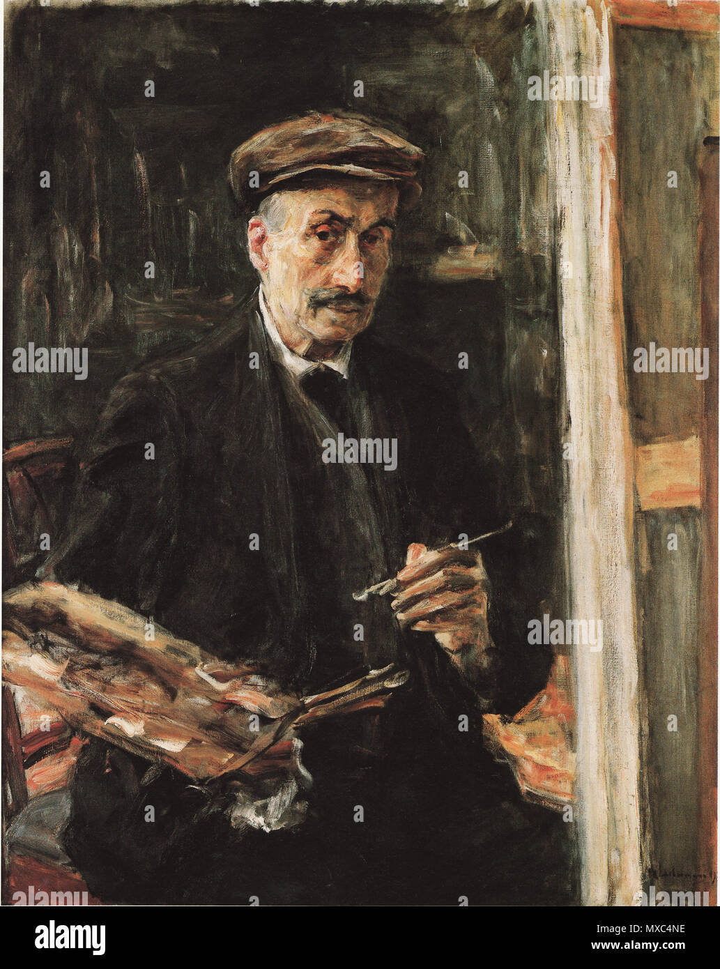 . Self-portrait . Selbstbildnis mit Sportmütze an der Staffelei . 1925 371 Max Liebermann 1925 - Stock Image