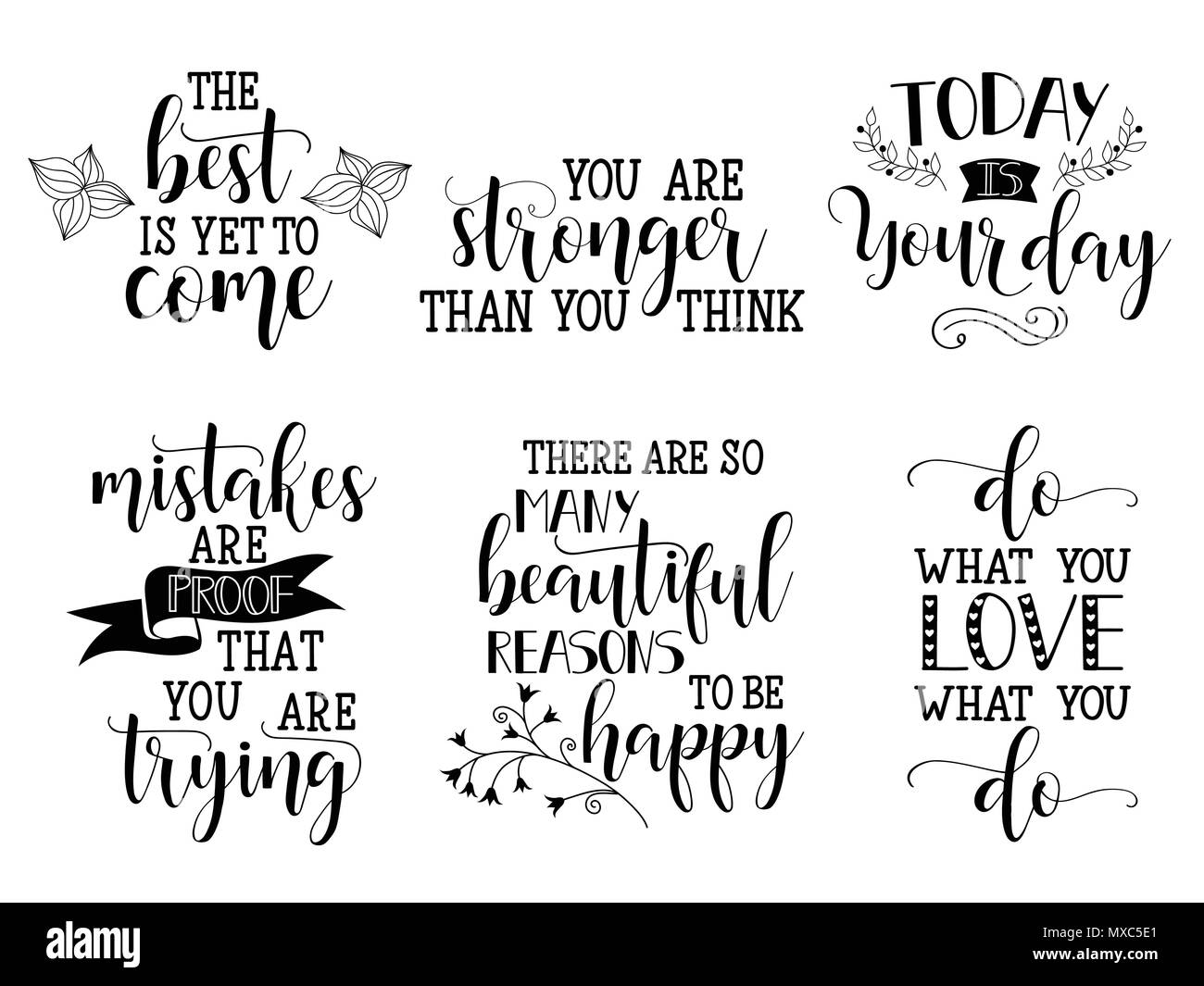 Set of vector inspirational and motivational lettering for greeting set of vector inspirational and motivational lettering for greeting cards decoration prints and posters hand drawn typography design elements m4hsunfo