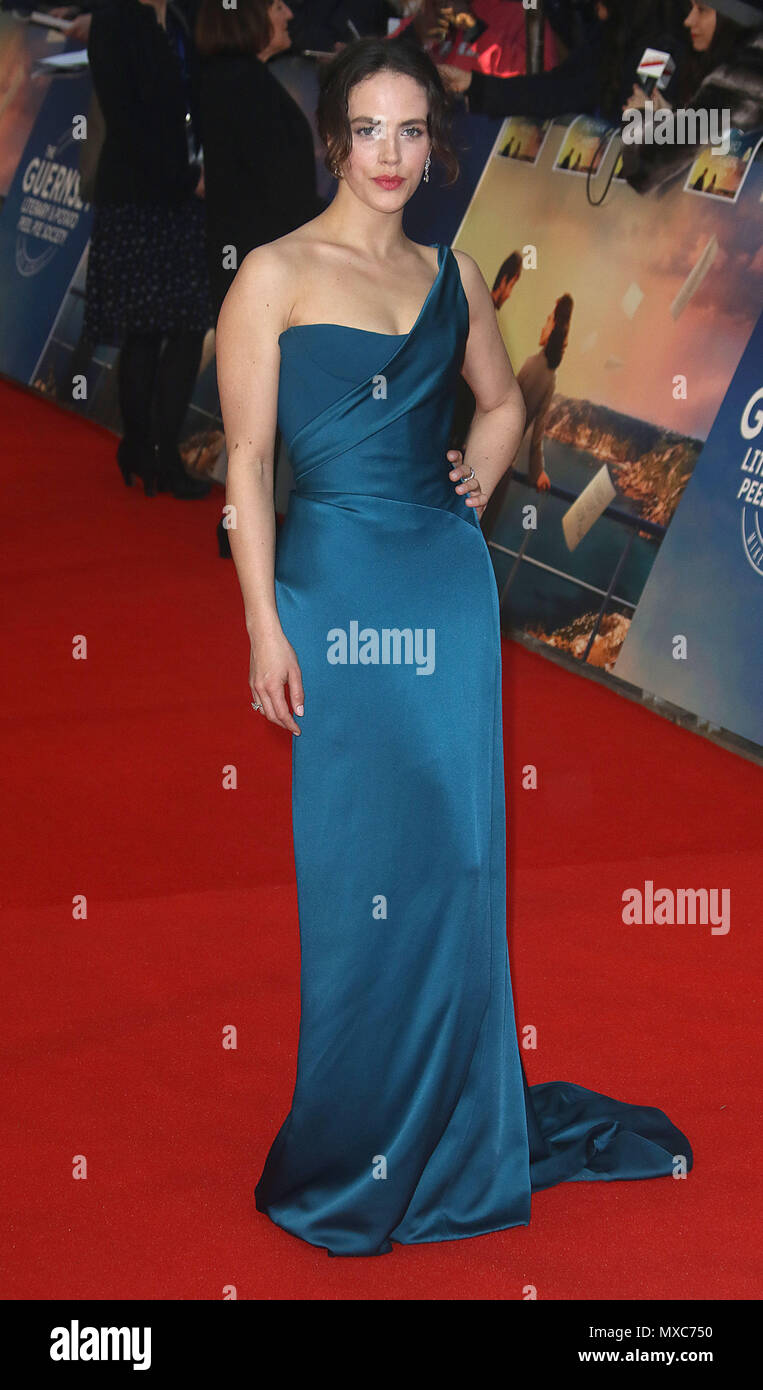 April 09, 2018 - Jessica Brown Findlay attending The Guernsey Literary and Potato Peel Pie Society World Premiere, Curzon Mayfair in London, England,  - Stock Image